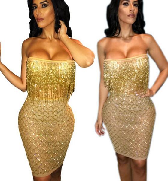 Le plus récent or glands jupes pour Night Pubs Sexy femmes om corps corps jupes serrées robe de hanche pour les femmes du parti sexy solide crayon robes