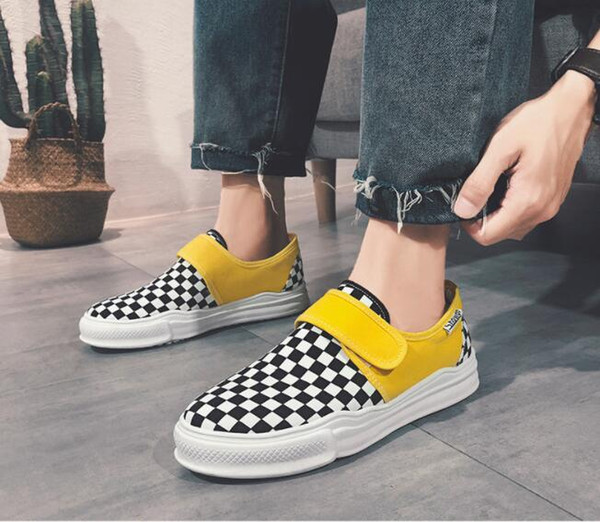 W77 High quality 2018 new casual flying woven shoes men breathable casual shoes loafers men's south Korean plaid men's shoes