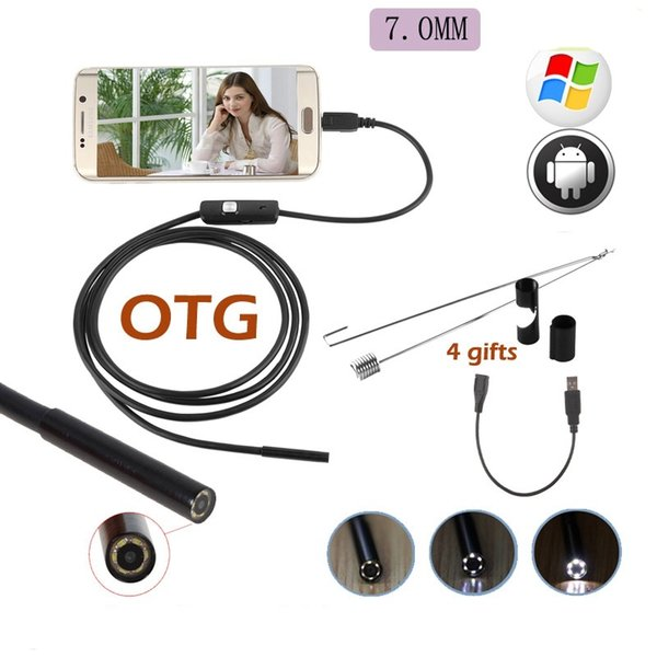 top popular USB Endoscope Camera IP67 Waterproof 6LED 720P 7mm Endoscope Camera Pipe Inspection For Android Phone PC Camera 2019