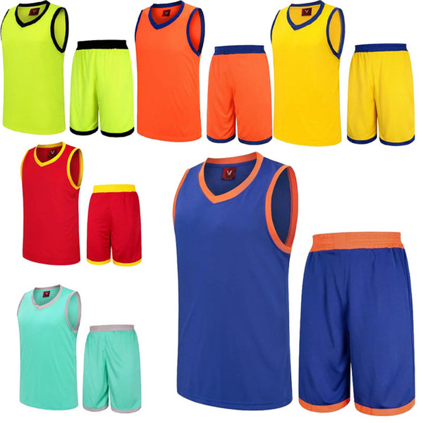 Hot 2019 Men Breathable Basketball Set Uniforms kits Sports clothes Youth basketball jerseys DIY Customized Training suit