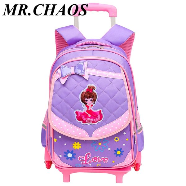 Removable Children School Bags With 3 Wheels Stairs Kids girls Trolley Schoolbag Luggage Book Bags Wheeled school Backpack