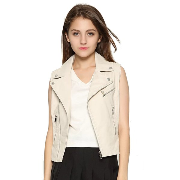 New White PU Leather Waistcoats Girls 2019 Fashion Totem Bomber Vest Jackets Ladies Chic Street-wear Colete Women-s Tops Clothes