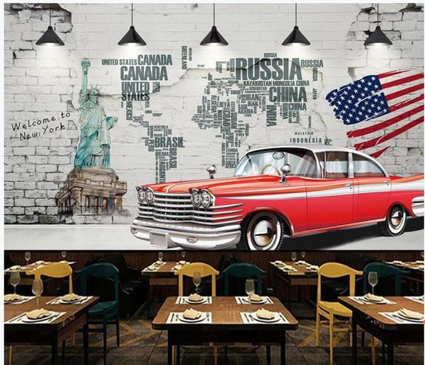 3d room wallpaper custom photo European retro brick wall car background wall Home decor 3d murals wallpaper for walls 3 d