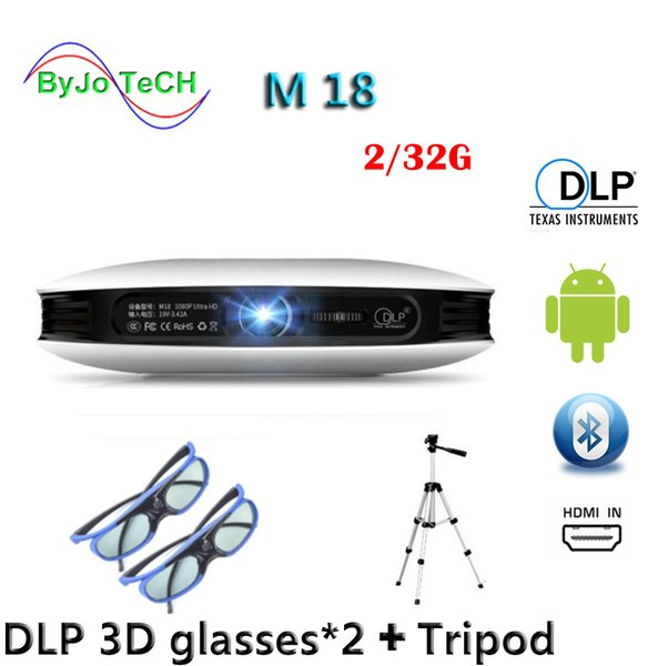 best selling ByJoTeCH M18 projector 2G 32G 3D glasses Tripod 3D Android WIFI Proyector 4K Beamer AirPlay Miracast Built-in battery Vs dlp800w