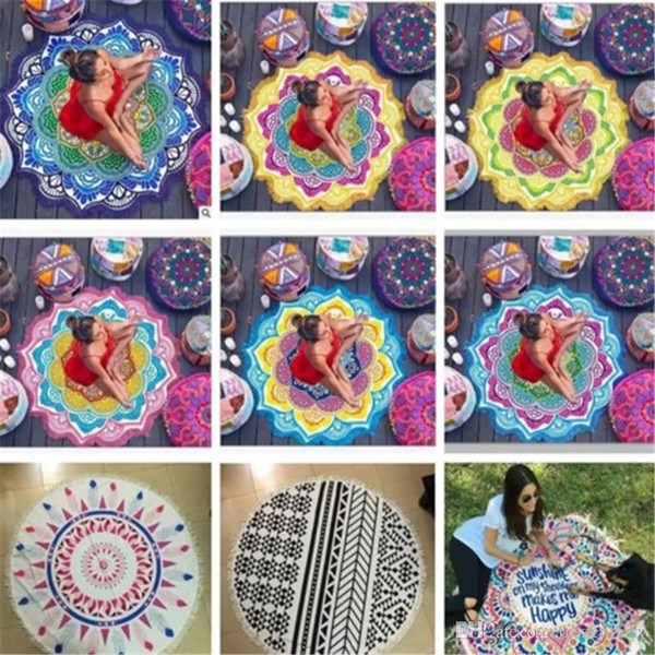 Mandala rond serviette de plage tapisserie Hippie Boho nappe châle bohème bain de soleil bikini couverture de pique-nique de yoga tapis CCA5656 10pcs