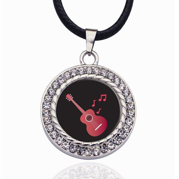Gitarrenliebhaber Kreis Charm Halskette Schmuck Mode Beliebte Perlen Kette Kristallkorn Anhänger Halskette
