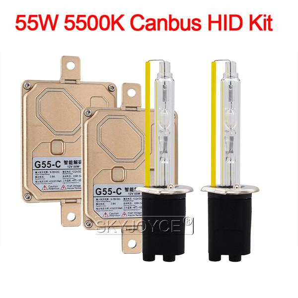 55W Xenon H1 H3 H7 H11 9005 9006 9012 D2H Canbus HID Kit Car Light EMC sem erro Canbus HID lastro 55W 5500K Auto Farol Bulb
