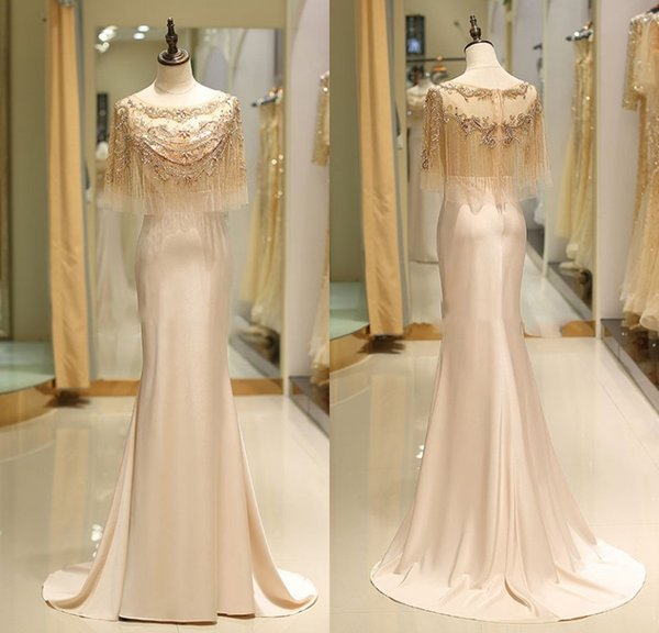 A Line Elegant Evening Dresses With Wraps Luxury Beaded Girls Pageant Gowns Floor Length Formal Party Prom Dresses