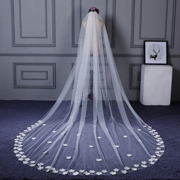 Top Quality Wedding Long Veil 3 Meters Long Bridal Head Veils Veil Ivory White Color Lace Women Wedding Accessories