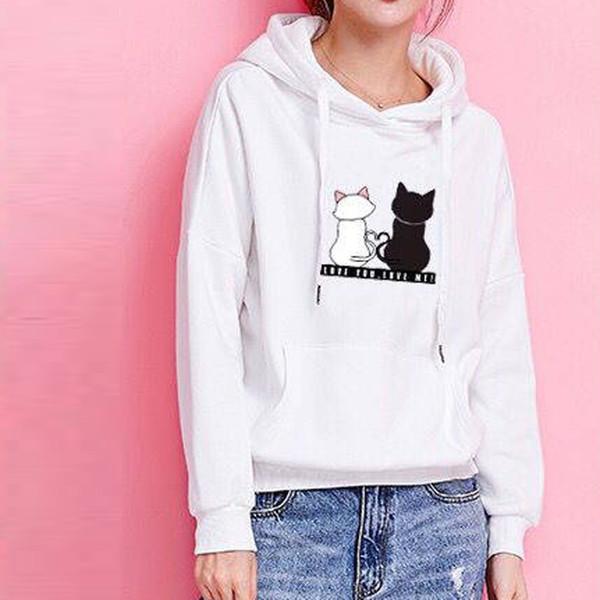 Women Hoodies sweatshirt cat print pullover plus size loose tops warm Ladies casual drawstring sports running sweatshirts