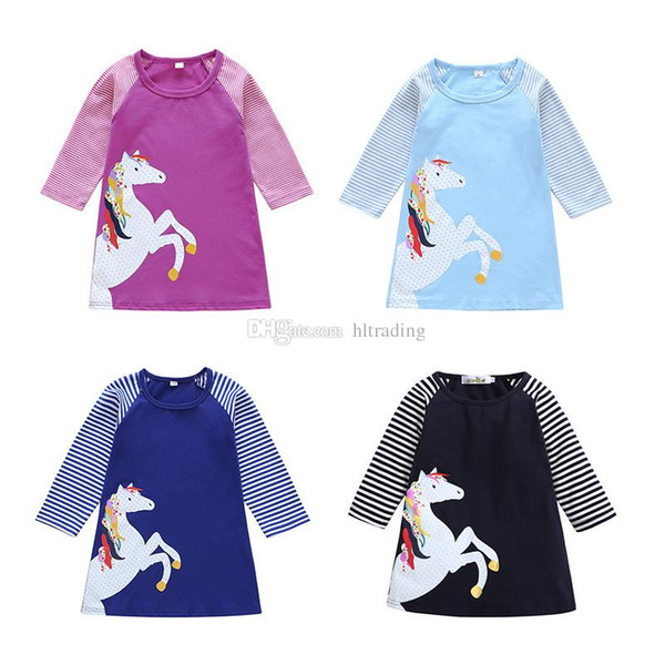 Baby Kids Girl Long Sleeve Stripe Printed Princess Dress Cartoon Dresses Clothes