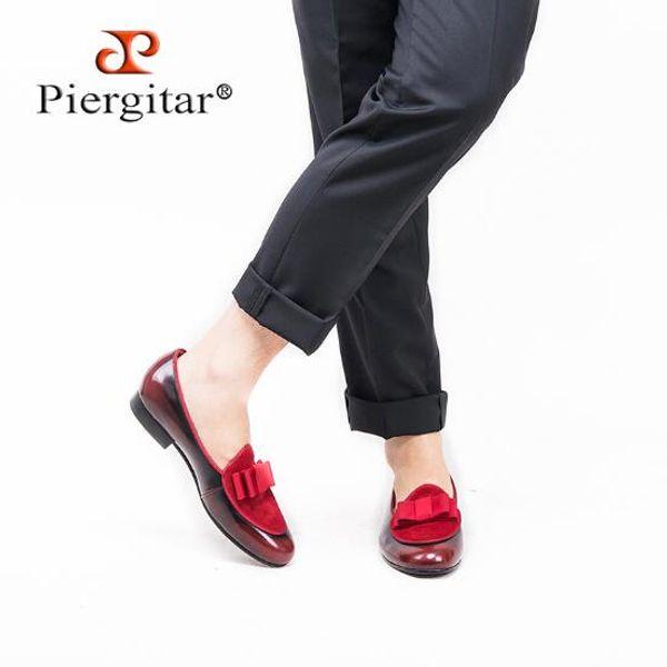 Piergitar 2019 Cinq couleurs de cuir véritable et Suede couture avec nœud papillon à la main chaussures habillées hommes mocassins luxueux hommes