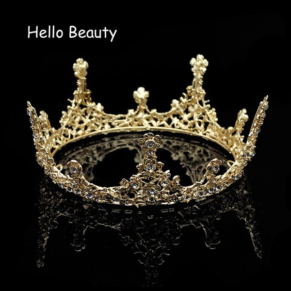 Gold Color Baroque Vintage Men Diadem Large Crystal Full Round Prom King Crown Wedding Pageant Queen Tiara Bridal Hair Jewelry C18112001