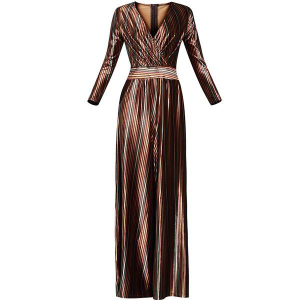 2019 New Spring and Autumn Women's Celebrity V Collar Colorful Stripes Gold Velvet Long Jumpsuit Retro Ladies Wide Leg Trousers