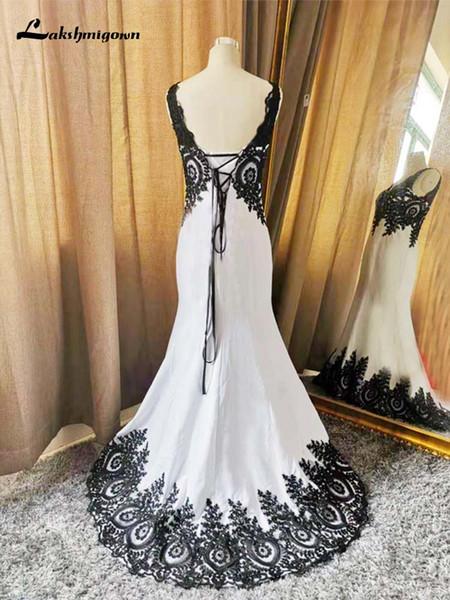 Simples decote em V de cetim vestido de noite apliques de renda preta com beading Sereia Formal vestido de noite Robe De Soiree