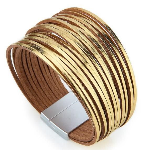 Gold bracelet luxury bangle for party girl fashion wholesale charm jewelry Multilayer Belt Circles leather bracelet
