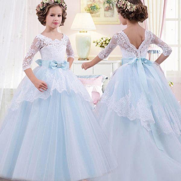 Niños Vestido de niña de flores Bebé Niñas Encaje Formal Princesa Pagoda Fiesta de cumpleaños de la boda Vestidos de dama de honor blancos Longitud del té 2-14Years
