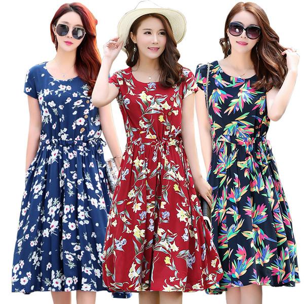 a6bb829f58b 2019 лето новое платье из хлопка шелка среднего возраста женщин с принтом с короткими  рукавами