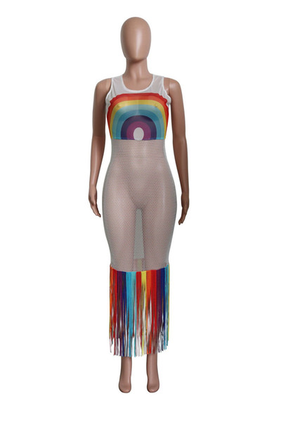 Rainbow Tassel Sexy Beach Boho Dress Women Fishnet Hollow Out See Through Party Dress Summer O Neck Sleeveless Maxi Robe S-3XL A52106