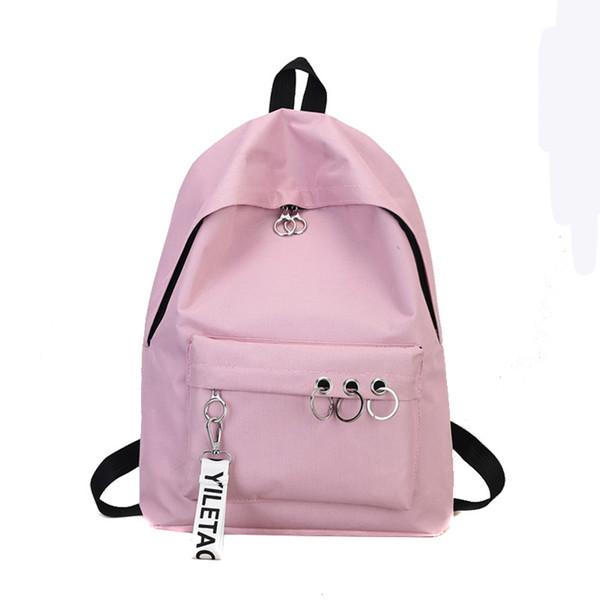 Women Fashion double shoulder bag Solid color school bag Travel Backpack Nylon Ring Decoration Shoulder Bookbags Bucket dropship