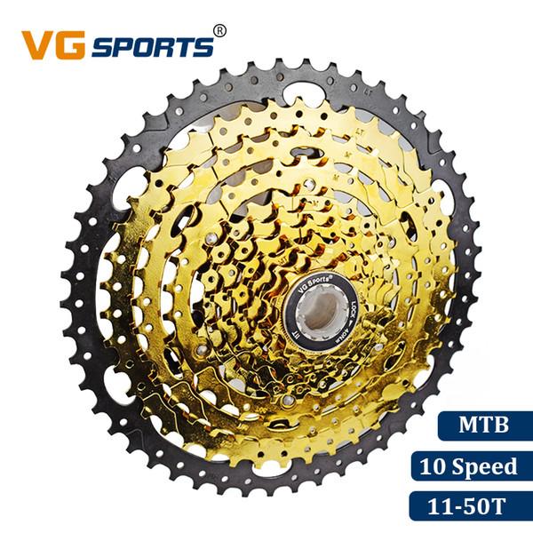 VG Sports Mountain Bike MTB 10 Speed Cassette 10 Velocidade 10S 50T Bicycle Parts Gold Golden Freewheel Sprocket Cdg Cog 594g