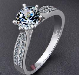 Wedding jewelry women 925 sterling silver princess queen proposed zircon diamond ring for girl wedding Christmas festival birthday gift