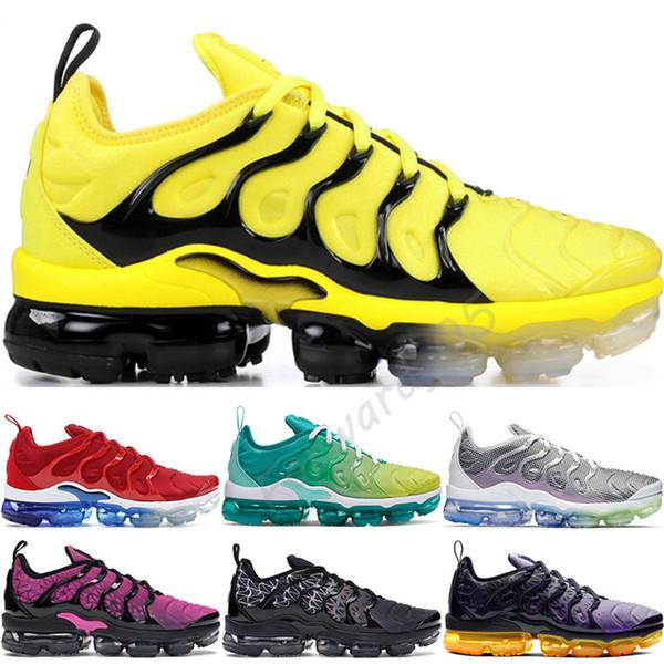 top popular 2019 TN Plus Running Shoes Men Women Bumblebee USA Wool Grey Game Royal Tropical Sunset Creamsicle Designer Sneakers Sport Shoes 36-45 2019