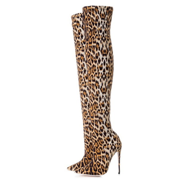 ZK Womens shoes 12cm high heels boots sexy Leopard print over knee boots china size34--46