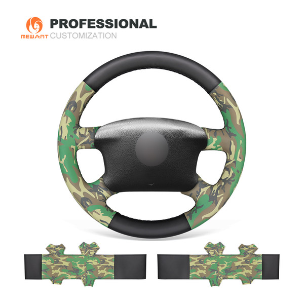 MEWANT Black Camouflage Artificial Leather Steering Wheel Cover for Volkswagen VW Passat B5 1996-2005 Golf 4 1998-2004 Seat Alhambra