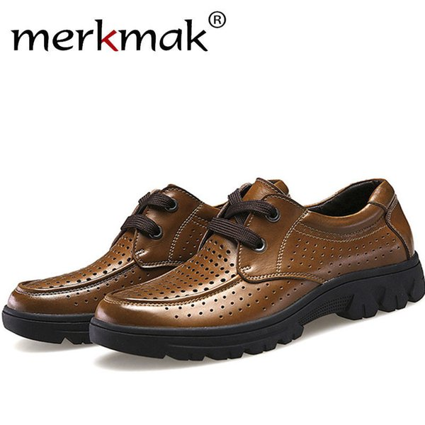 Merkmak Shoes Men Fashion Genuine Leather Casual Brogue Business Big Size 37-50 Men Flats Holes Footear Breathable Zapato Hombre