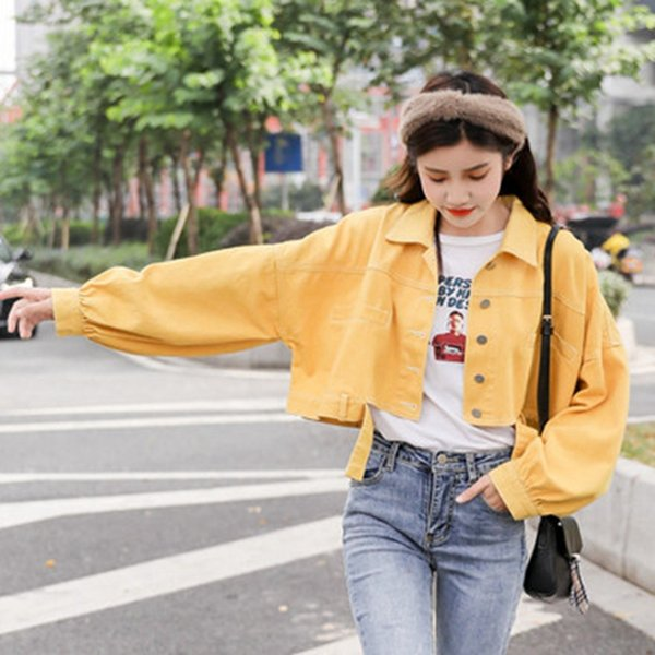 SexeMara fashion The New Lantern sleeve Wild Short paragraph Denim jacket free shipping