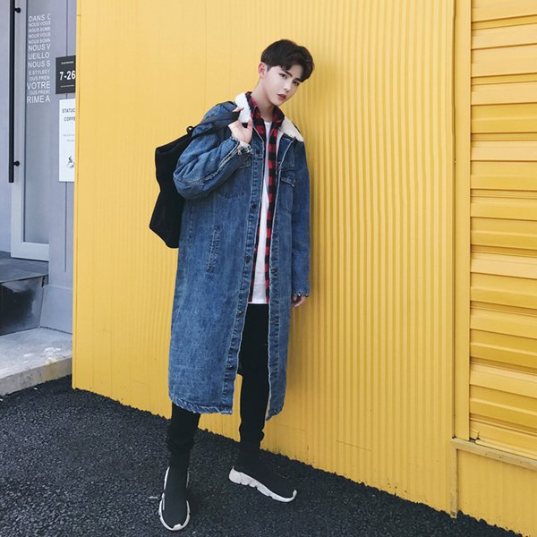 2017 Зима новый узор мода повседневная длинный Ковбой Вельвет карманы свободные мужская ветровка траншея утолщаются теплый