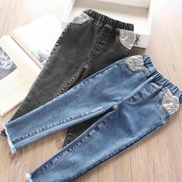 Nouveau 2color filles jeans paillettes enfants skinny jeans enfants vêtements de marque filles pantalons pantalons crayon pantalons filles vêtements vêtements pour enfants A7284