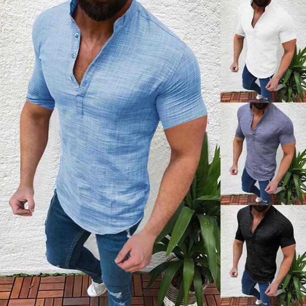 Men shirt Summer Casual Blouse Cotton Linen shirt Loose Tops Short Sleeve Tee