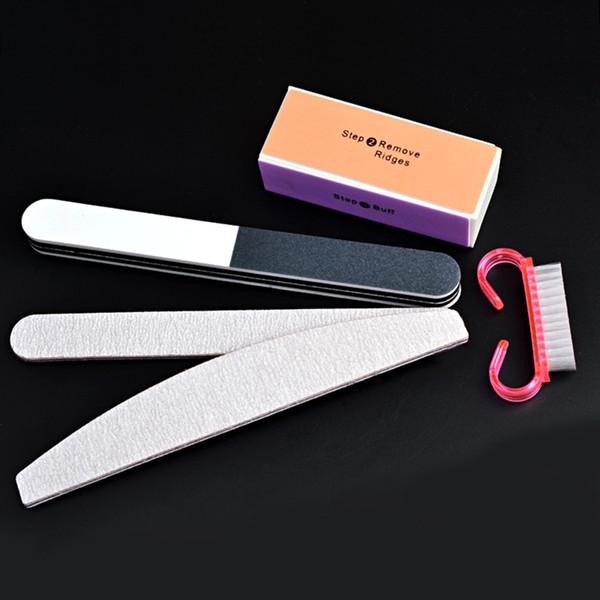 5 teile / satz nail medicure kit nail art dateien block pinsel puffer pediküre polieren schleifen polnisch diy schönheit werkzeuge