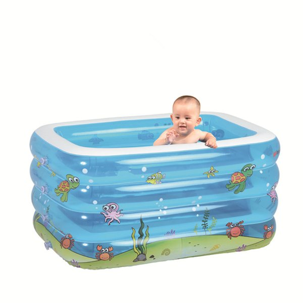 2019 new rectangular baby swimming pool folding inflatable baby shower bucket thickened tub