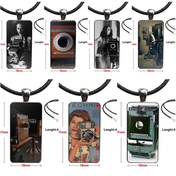 Design Fashion Vintage Glass Women Rectangle Necklace Pendants For Men Women Vintage Large Lens Camera