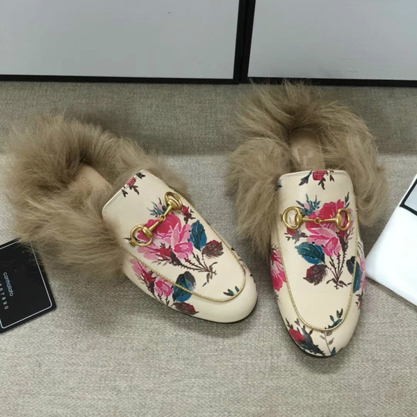 Designer brand Slippers Women Shoes With Furs Winter Warm Couple Shoes China floral Plush Flats Female Slipper Slip On genuine leather shoes