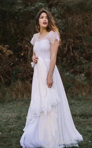 Custom Made Scoop Neck A Line Beach Wedding Dresses With Lace Hem Cap Sleeve Chiffon Backless 2019 Country Bridal Gowns
