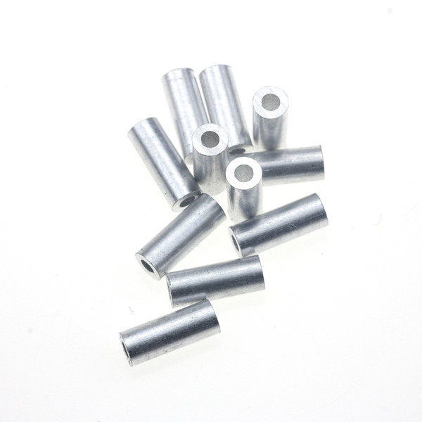Rompin 100pcs/lot White Round Real Aluminum Tube Wire Pipe Crimp Sleeves Sea Fishing Line Tube accessories