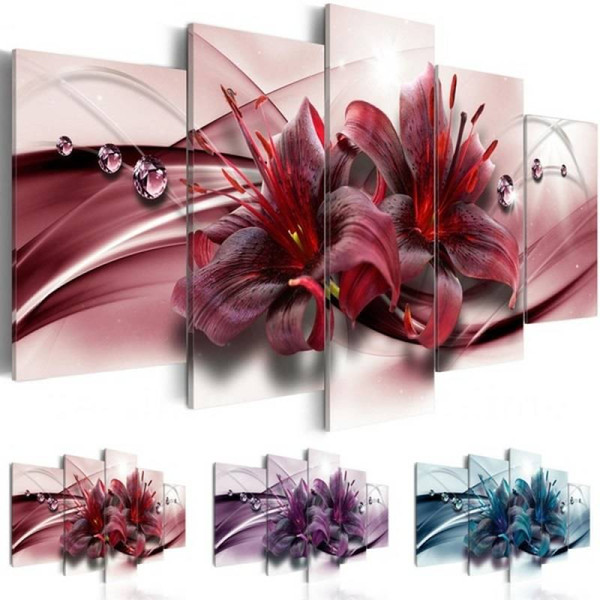 Abstract Orchid Canvas Art Design Print Modern Flower Floral Wall Painting Home Decoration Gift for Love, Choose Color And SizeAbstract Orch