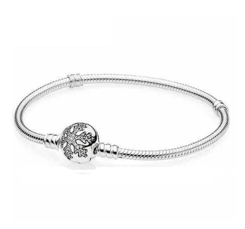 Original 925 Sterling Silver Pandora Crystal Snowflake Clap Snake Chain Bracelet Bangle Fit Women Bead Charm Diy Jewelry