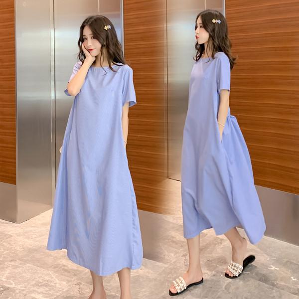 Estilo coreano solto mulheres grávidas verão longo solto vestido com bolsos de manga curta o pescoço maternidade xadrez vestido de algodão maxi