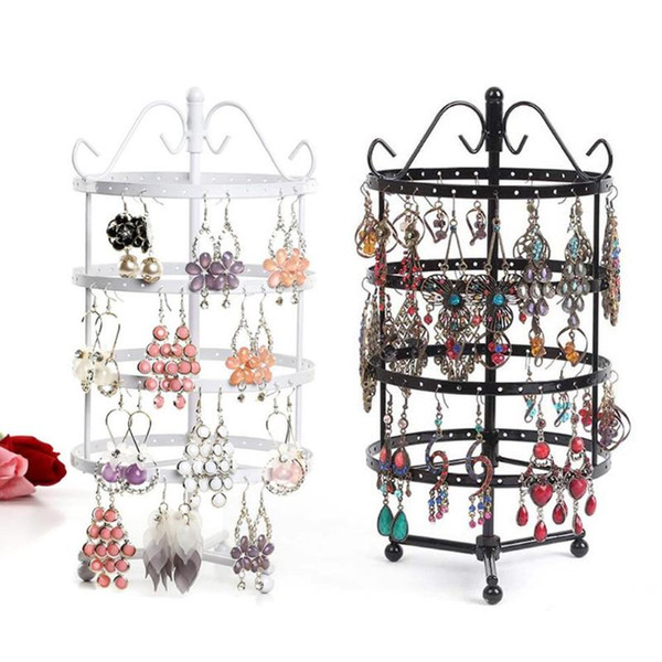 144 Holes 4 Tiers Earring Jewelry Organizer Round Rotatable Jewelry Display Metal Earring Holder Women Stand Rack