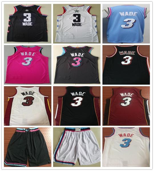 Cucito 2019 New Style Dwyane Wade Jersey Rosa Blu Bianco Rosso Nero Colore Dwyane 3 Wade Maglie Basket universitari Camicie