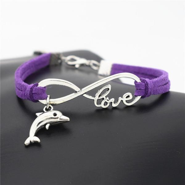 Handmade Purple Leather Rope Wrap Silver Infinity Love Cute Animal Dolphin Cuff Charm Bracelet & Bangles Fashion Women Men Customize Jewelry