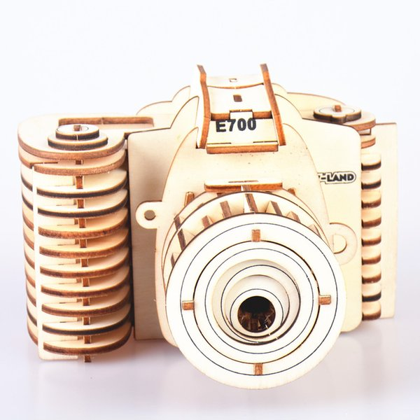 3D Building Blocks Wooden Camera Design Handmade Training Educational Toys Creative Children Puzzle Assemble Toy Gifts New Arrive