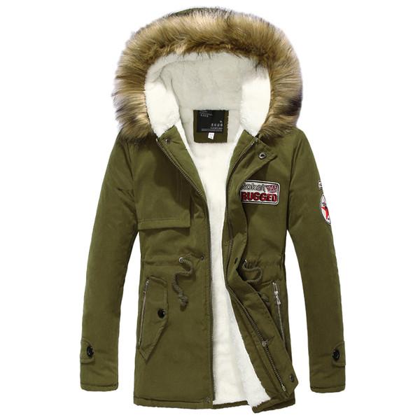 Wool Linner Men Winter Jacket Army Green 2018 Winter Men's Thick Warm Fur Collar Long Jackets Men Hooded Parka Coat