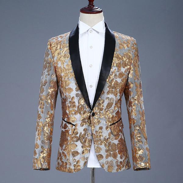 Stylish Sequin Men Blazer Men Performance Suit Jacket Men's Sequin Jacket Stage Costumes for Singers Men's Blazer Hombre