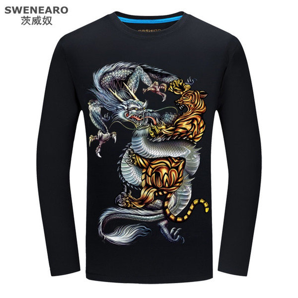 SWENEARO Swag Clothes Men Oversized Men's T Shirt Motorcycle Long Sleeve Autumn Men's T Shirts Dragon and Tiger Russia Camiseta